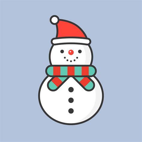 snowman  santa hat filled outline icon  christmas theme   vectors clipart