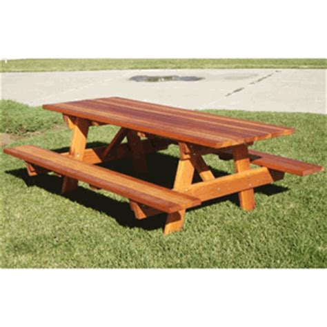 Best Redwood Picnic Table W Attached Benches