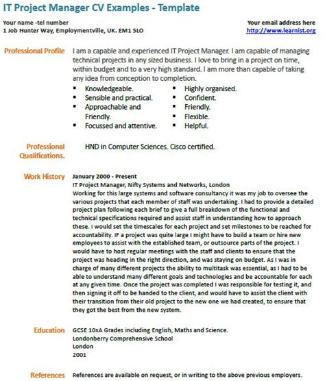 Manager Resume Samples by It Project Manager Cv Example Learnist Org