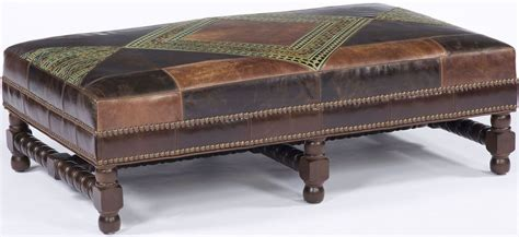 Leather Patchwork Ottoman - patchwork leather ottoman