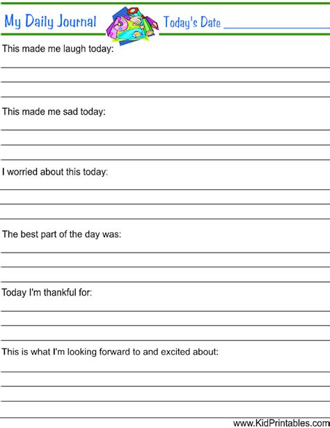 printable activity journal my daily journal