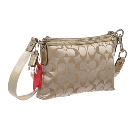 coach metallic gold canvas monogram poppy crossbody bag