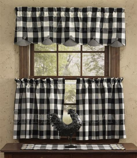 Kitchen Curtains Black And White Scalloped Valance By Park Designs 72 Quot X 14 Quot Black White Buffalo Check Buffalo Check