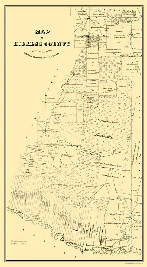 Hidalgo County Civil Search County Maps Map Of Hidalgo County By General Land Office 1880