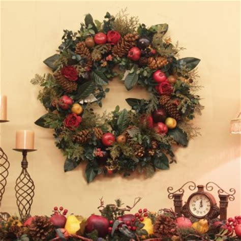 Elegant christmas wreath with fruit and greenery silk flower