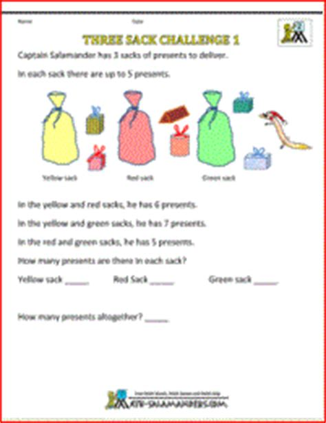 printable christmas quiz ks2 christmas worksheets three sacks challenge 1 a challenge