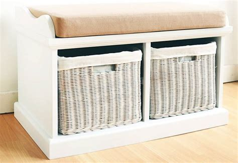 storage bench with cushion and baskets statement furniture tetbury white bench with seat