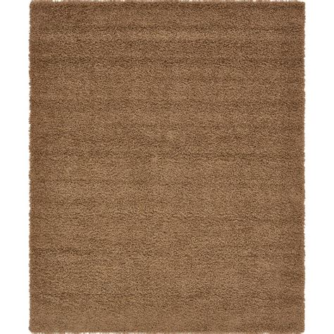 solid brown area rug ottomanson contemporary solid brown 7 ft 10 in x 9 ft 10 in shag area rug shg2768 8x10 the