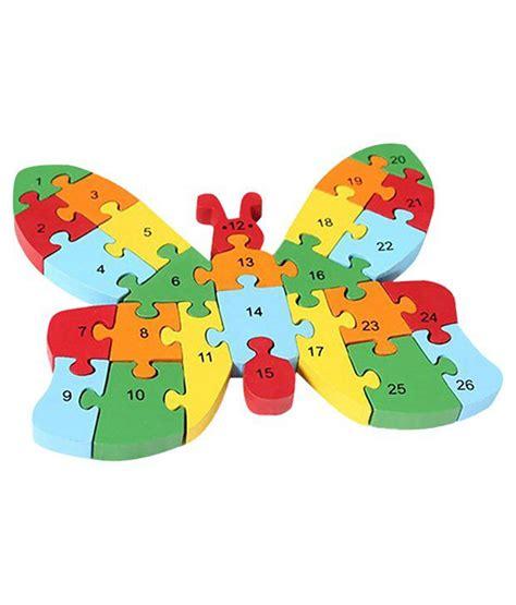 Puzzle Alphabet Butterfly hsr multicolour wooden butterfly puzzle with numbers alphabet buy hsr multicolour wooden