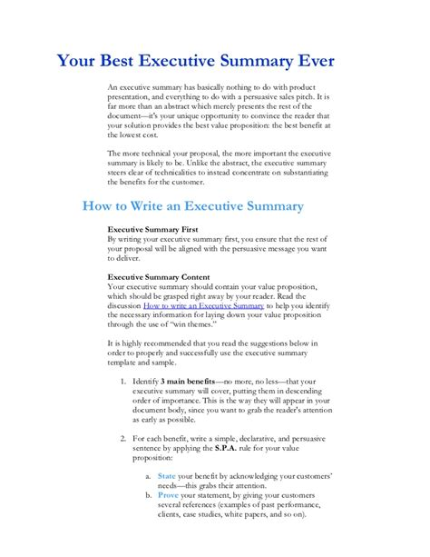 valuable sample executive summary for startup business one of the