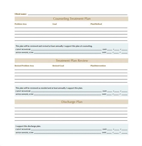 plan template pdf image result for counseling treatment plan template pdf