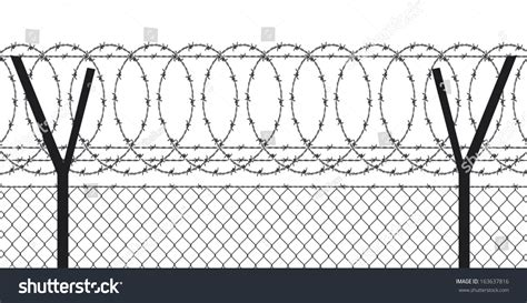 barbed wire fence stock vector 163637816