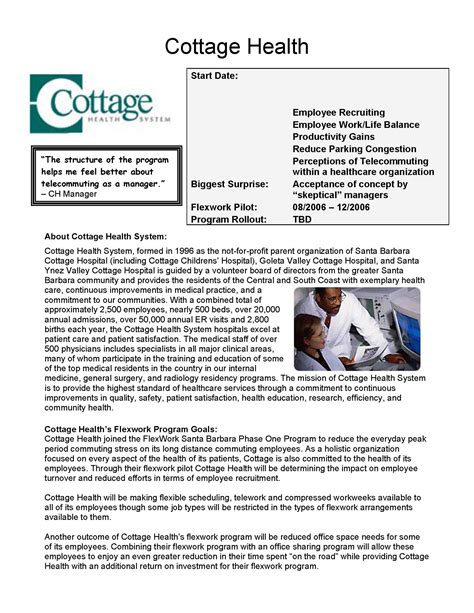 Working At Cottage Health System Telecommuting Advantage Tag Telecommuting