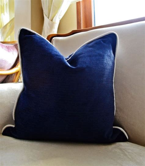 Pillow Upholstery by Navy Velvet Pillow Cover Navy Pillow Cover With Piping