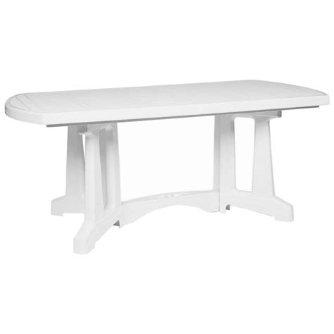 White Resin Patio Table Oblong Resin Dining Table