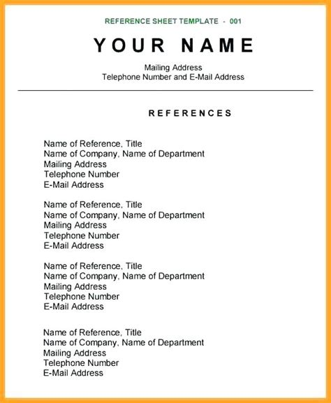 stirring reference page for resumemplate list of references free