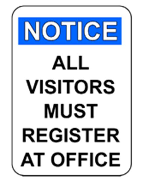 all visitors must sign in template free printable all visitors must register at office