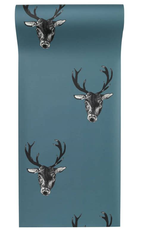 stag wallpaper grey stag print wallpaper by graduate collection