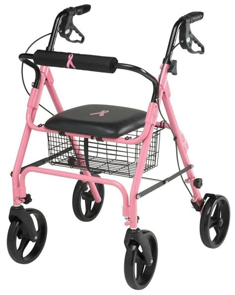 folding rollator walker with seat medline pink rollator support breast cancer rolling fold