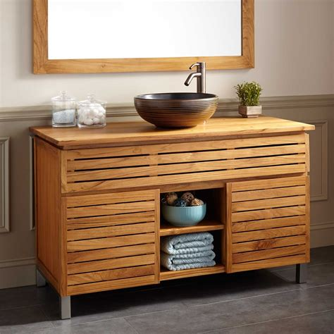 teak bathroom vanities 48 quot caldwell teak vessel sink vanity natural teak