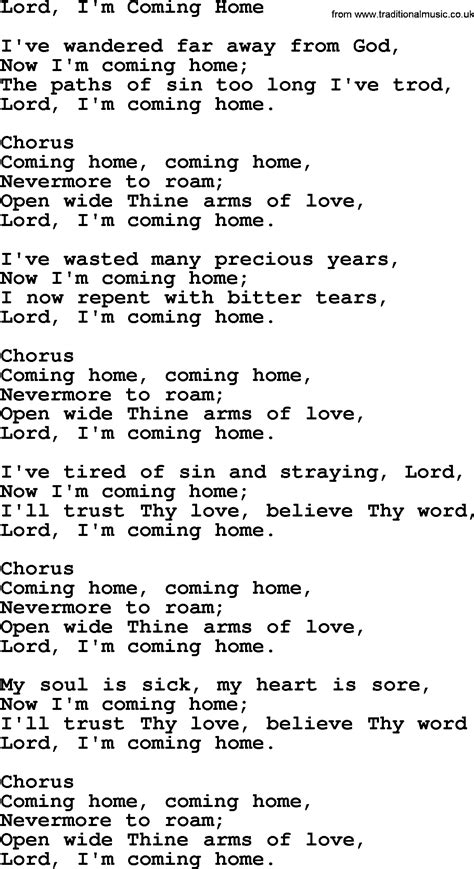baptist hymnal christian song lord i m coming home