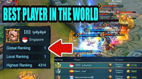 mobile legend ranking mobile legends best player in the world chou gameplay