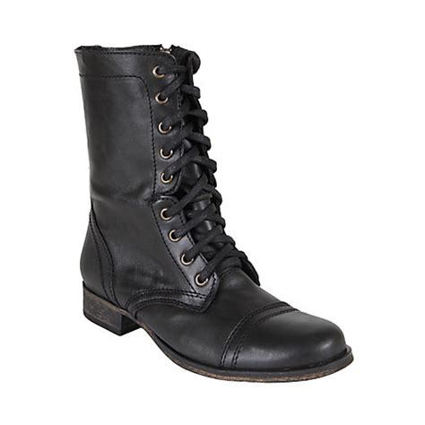 steve madden womens combat boots troopa s combat black leather boots by steve madden