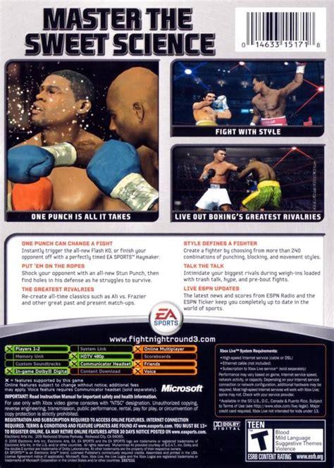 fight night round 2 cheats xbox fight night round 3 box shot for xbox gamefaqs