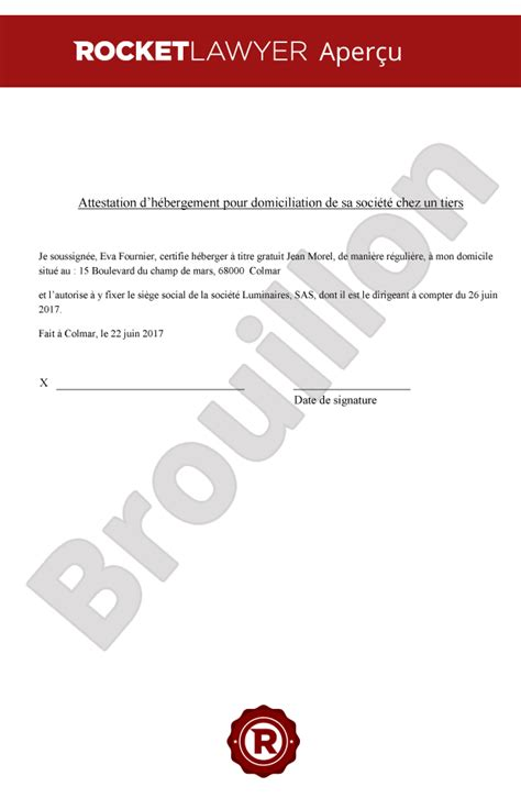 attestation domiciliation si鑒e social attestation d h 233 bergement pour domicilier entreprise