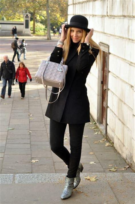 lade stile black casual look hat bag fashion