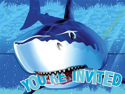 Shark Splash Invitations Jaws Themed Boys Birthday Party Supplies Ebay Shark Birthday Invitation Template