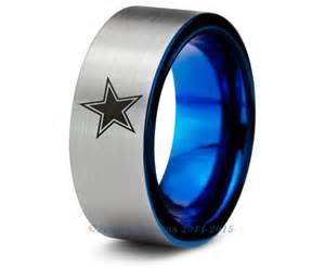 dallas wedding band dallas cowboys blue tungsten wedding band ring mens womens brushed pipe cut nfl sports fan