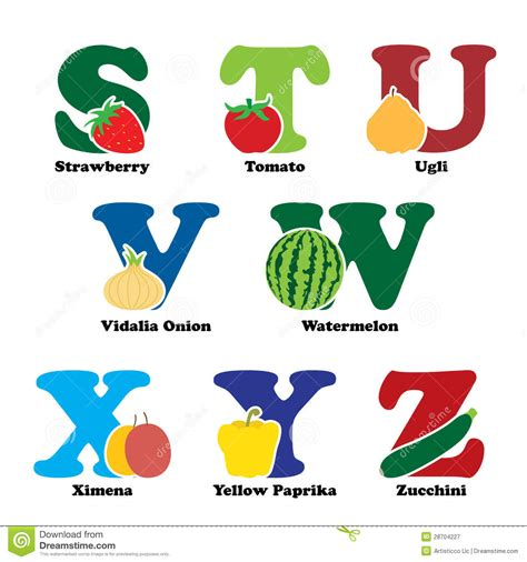 b f vegetables fruit and vegetable alphabet royalty free stock
