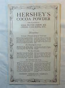 vintage hershey s cocoa powder recipe paper advertising