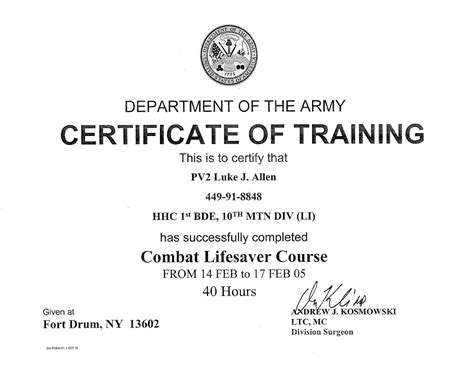 28 combat lifesaver certificate template army