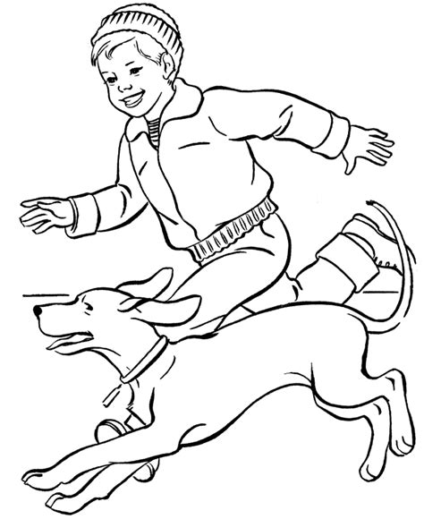 coloring page of boy running dog coloring pages 360coloringpages