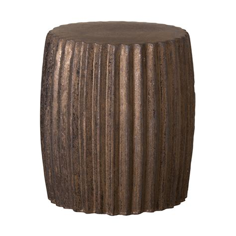 Metallic Stool by Metallic Glaze Pleated Ceramic Garden Stool