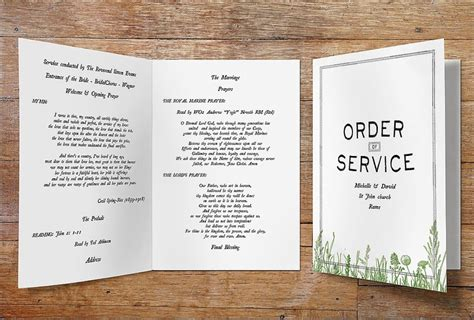 layout order of service wedding order of service vintage designs
