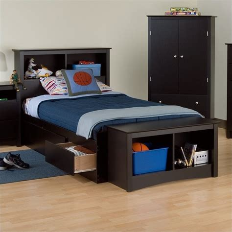 twin xl bed with storage black twin xl bookcase platform storage bed bbx 4105 kit