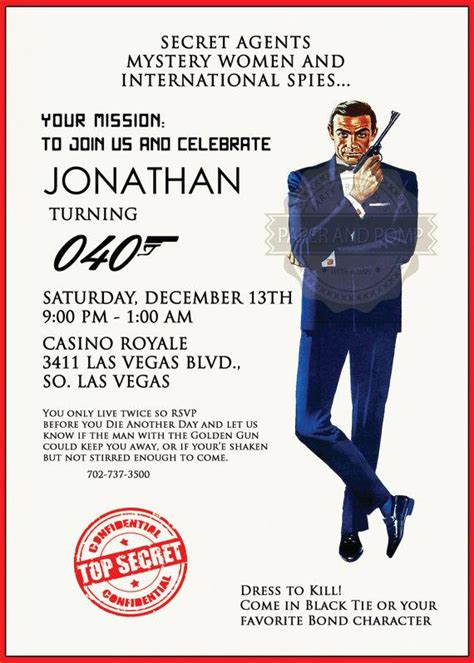 James Bond 007 Birthday Bachelor Casino Poker Top Secret Agent Mission Party Invitation 2215327 Free Bond Invitation Template