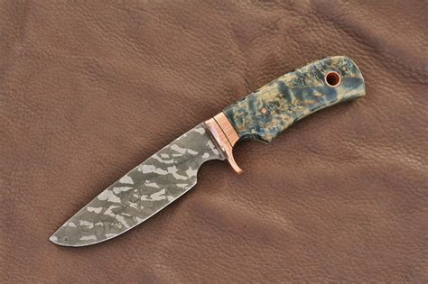 etching knife custom etched drop point knife