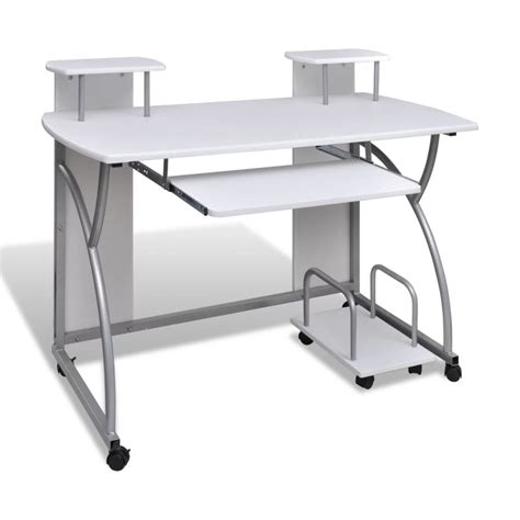mobile computer desk for vidaxl co uk mobile computer desk pull out tray white
