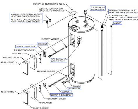 residential electric water heater exploded view