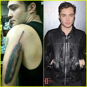 ed westwick tattoos ed westwick feather explained ed westwick