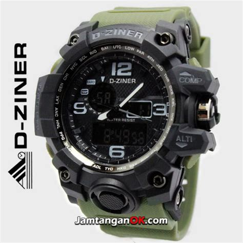 d ziner 8119 jam tangan d ziner dz 8119 black green army original big