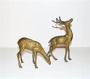 vintage brass deer figurines rustic deer reindeer woodland