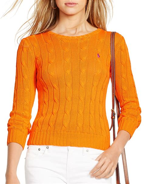 orange cable knit sweater polo ralph cable knit cotton sweater in orange lyst