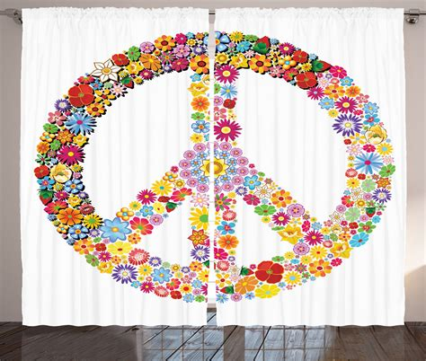 peace sign window curtains floral peace sign spring summer blooms themed illustration