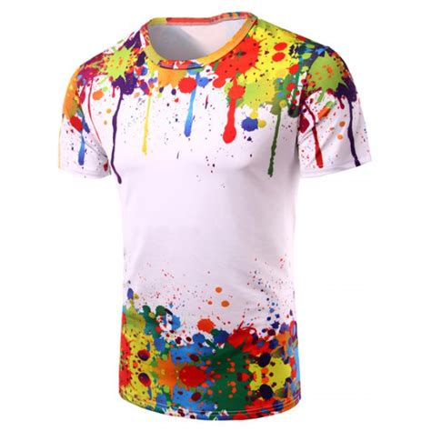 neck 3d colorful splash ink print sleeve t