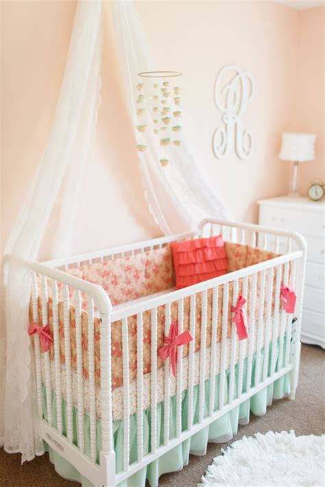 peach baby bedding coral nursery bedding coral nursery set gold polka dot in